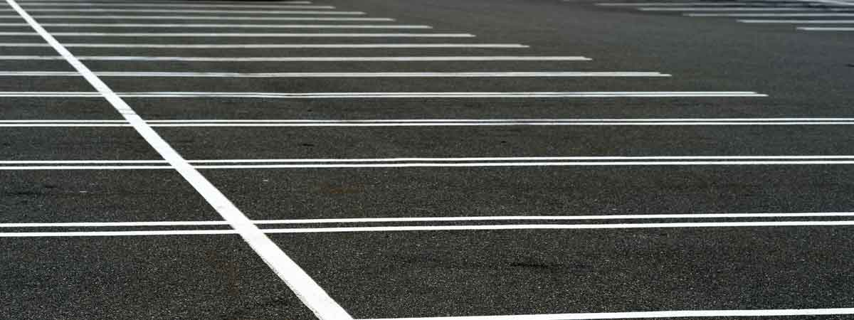 Fresh Painted Lines in Parking Lot